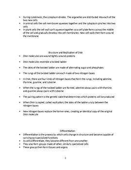 Outline of Various Cell Processes - Key Points and Handout