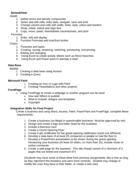 Outline of curriculum taught in Advanced Computer skills