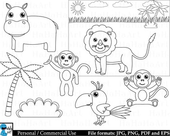 Outline safari animals - Digital Clipart, Clip Art ...