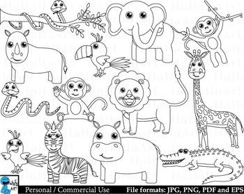 Outline safari animals - Digital Clipart, Clip Art Graphic