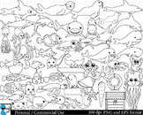 Outline under the sea Digital Clip Art Personal Commercial Use 47 images cod164
