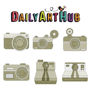 Outlined Vintage Camera Clip Art - Great for Art Class Projects!