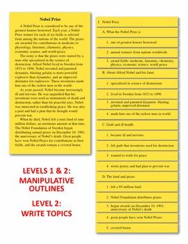 Outlining Manipulatives & Task Cards
