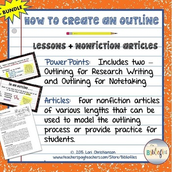 Outlining:  PowerPoint Lessons + 4 Informational Articles {BUNDLE}