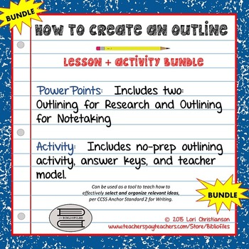 Outlining:  PowerPoint Lessons + Activity BUNDLE