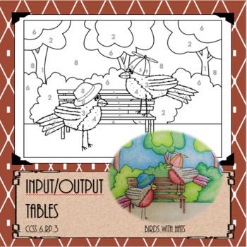 Input/Output Tables 6.PR.3...Math+Art=FUN!!! Worksheet/Coloring page
