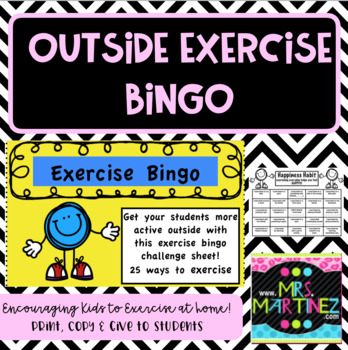 Outside Exercise Bingo Challenge Sheet