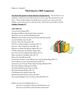Outside / Independent Reading Book Assignments - Complete Set