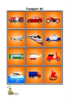 Outside Items, Tools and Transport Vocabulary Cards