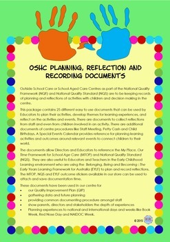 Outside School Care Planning, Reflection and Recording Documents - OSHC, VacCare