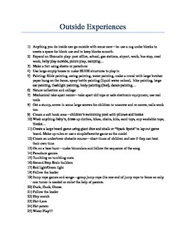 Outside experiences for preschool to 2 grade