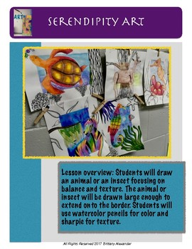 Middle School and High School Art Lesson: Animals with texture and balance