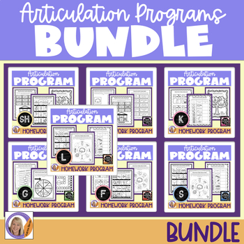 Articulation programs & homework bundle for speech & language therapy