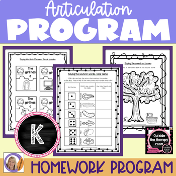 Articulation Program: /k/ for speech and language therapy