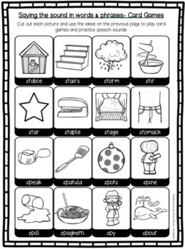 Articulation Program: /s/ blends for speech and language therapy