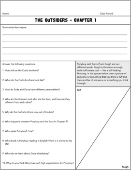 The Outsiders - Chapter Assignments and Activities (S.E. Hinton)