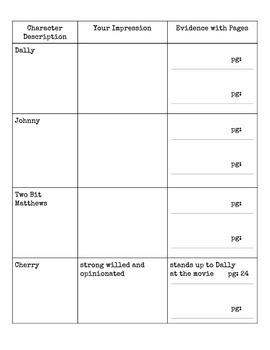 Outsiders Character Worksheet