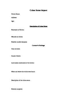 Outsiders Crime Scene Report template and rubric