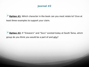 Outsiders Journal Prompts