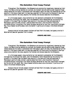 Outsiders POV Argumentative Essay Prompt