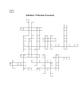 Outsiders Study: Outsiders 1-4 Study Guide/Review Crossword Puzzle