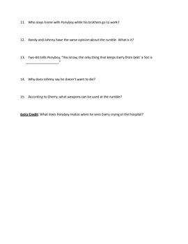 Outsiders Unit: Ch. 5-8 Quiz