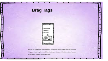 Outstanding Cafeteria Behavior Brag Tag