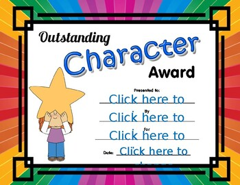 Outstanding Character Award girl and star