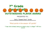 Outstanding Player Award Template