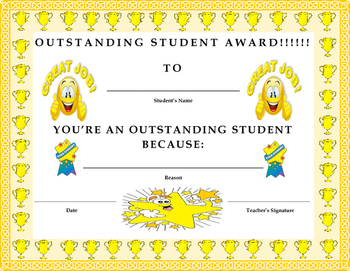 Outstanding Student Award Certificate- Kids Will Love It!!