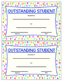Outstanding Student Award - Colorful Printable