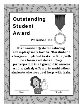 Outstanding Student of the Month Award