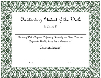 Outstanding Student of the Week Certificate