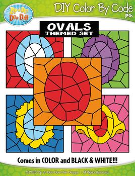 Oval 2D Shapes Color By Code Clipart {Zip-A-Dee-Doo-Dah Designs}