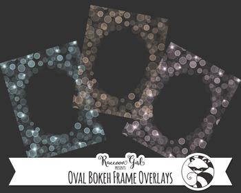 Oval Bokeh Frame Overlay Clip Art Set