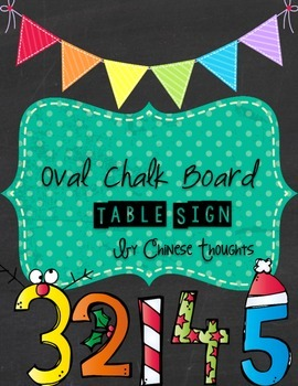 Oval Chalk Board Table Sign