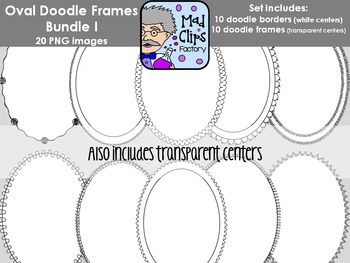 Oval Doodle Frames Bundle 1