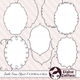 Oval Frames / Border Clipart / Doodle Frames / Black and White Labels