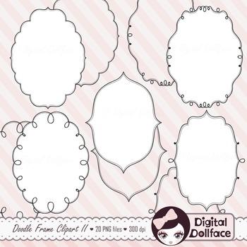 Oval Frames / Border Clipart / Doodle Frames / Black and W