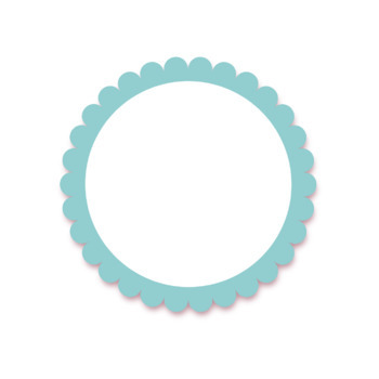Round Frames/Banners with Scalloped Edges - 12 colors