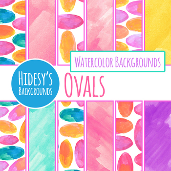 Oval Handpainted Watercolor Backgrounds / Digital Papers / Clip Art Set