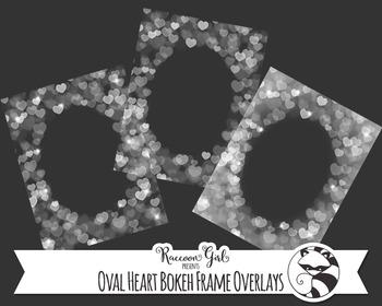 Oval Heart Bokeh Frame Overlay Clip Art Set