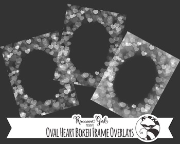Oval Heart Bokeh Frame Overlay Clip Art Set