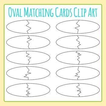 Oval Matching Cards Template Jigsaw Puzzle Clip Art Pack for Commercial Use