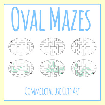Oval Mazes Clip Art Set for Commercial Use