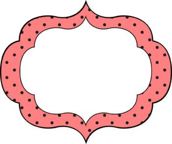 Oval Fancy Polka Dot Frames/Banners - 14 in all