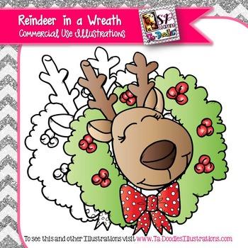 Reindeer in a Wreath Freebie