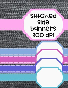 Oval Stitched Side Banners/Frames - 24 colors