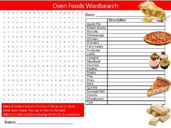 Oven Foods Wordsearch Sheet Starter Activity Keywords Food Health Nutrition
