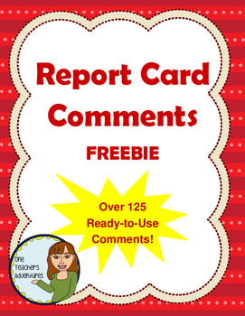Over 125 Report Card Comments - FREEBIE